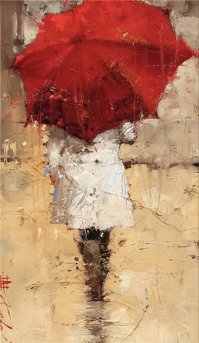 Andre Kohn 1972 -  Russian-born Figurative Impressionist Painter - White umbrellas - Tutt'Art@ (3)